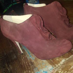 Valentino maroon ruffle booties